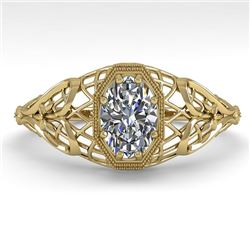 0.50 CTW VS/SI Oval Diamond Solitaire Engagement Ring Deco Size 7 18K Yellow Gold - REF-104A8X - 360