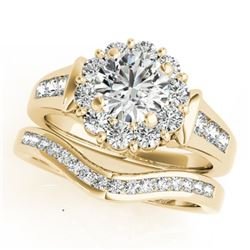 1.56 CTW Certified VS/SI Diamond 2Pc Wedding Set Solitaire Halo 14K Yellow Gold - REF-182K4W - 31246