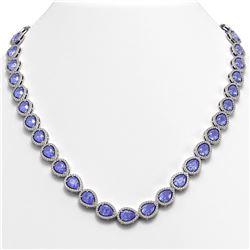 40.53 CTW Tanzanite & Diamond Halo Necklace 10K White Gold - REF-845N8Y - 41051
