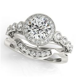 1.6 CTW Certified VS/SI Diamond 2Pc Wedding Set Solitaire Halo 14K White Gold - REF-402T4M - 30849