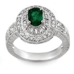 1.58 CTW Emerald & Diamond Ring 14K White Gold - REF-74A2X - 10870