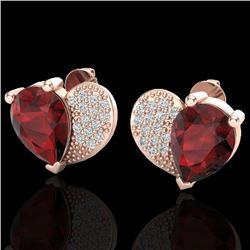 2.50 CTW Garnet & Micro Pave VS/SI Diamond Earrings 10K Rose Gold - REF-30X2T - 20074