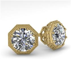1.50 CTW Certified VS/SI Diamond Stud Earrings 18K Yellow Gold - REF-311A3X - 35968