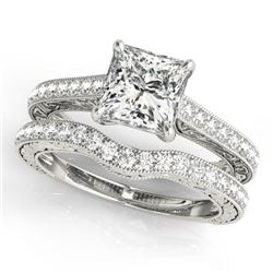 1.65 CTW Certified VS/SI Princess Diamond Solitaire 2Pc Set 14K White Gold - REF-443W3F - 31754