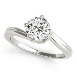 0.75 CTW Certified VS/SI Diamond Bypass Solitaire Ring 18K White Gold - REF-175F6N - 27660