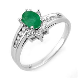 1.03 CTW Emerald & Diamond Ring 10K White Gold - REF-30A8X - 11018