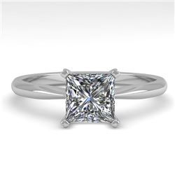 1.01 CTW Princess Cut VS/SI Diamond Engagement Designer Ring 18K White Gold - REF-285X2T - 32418
