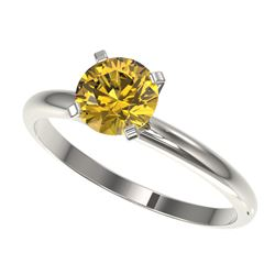 1.01 CTW Certified Intense Yellow SI Diamond Solitaire Engagement Ring 10K White Gold - REF-180H2A -