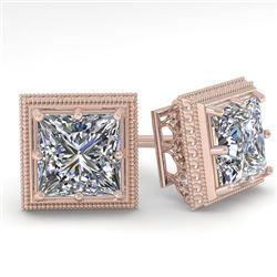 1.0 CTW VS/SI Princess Diamond Stud Solitaire Earrings 18K Rose Gold - REF-187N5Y - 35960