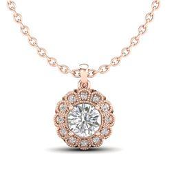 1.15 CTW VS/SI Diamond Solitaire Art Deco Stud Necklace 18K Rose Gold - REF-315F2N - 37056