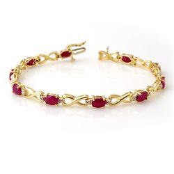 8.50 CTW Ruby & Diamond Bracelet 10K Yellow Gold - REF-78X9T - 14067