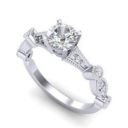 1.03 CTW VS/SI Diamond Art Deco Ring 18K White Gold - REF-203Y6K - 36971