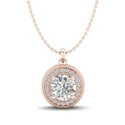 1.25 CTW VS/SI Diamond Solitaire Art Deco Stud Necklace 18K Rose Gold - REF-218W2F - 37143