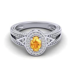 0.53 CTW Citrine & VS/SI Diamond Solitaire Halo Fashion Ring 10K White Gold - REF-25W3F - 20834