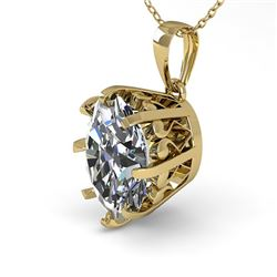 1 CTW VS/SI Oval Diamond Solitaire Necklace 18K Yellow Gold - REF-280A2X - 35716