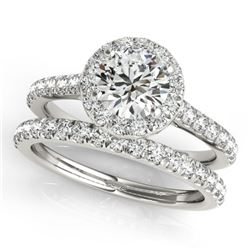 1.42 CTW Certified VS/SI Diamond 2Pc Wedding Set Solitaire Halo 14K White Gold - REF-212T4M - 30837