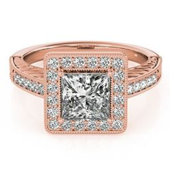 1.05 CTW Certified VS/SI Princess Diamond Solitaire Halo Ring 18K Rose Gold - REF-218M2H - 27118