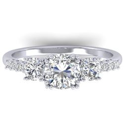1.5 CTW Certified VS/SI Diamond Art Deco 3 Stone Ring 14K White Gold - REF-215T3M - 30459