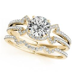 1.47 CTW Certified VS/SI Diamond Solitaire 2Pc Wedding Set 14K Yellow Gold - REF-383T3M - 32005