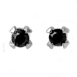 1.0 CTW VS Certified Black & White Diamond Solitaire Earrings 18K White Gold - REF-50M4H - 11801