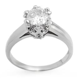 1.0 CTW Certified VS/SI Diamond Ring 14K White Gold - REF-274N2Y - 11548