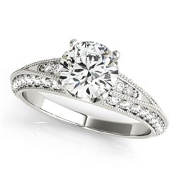 1.33 CTW Certified VS/SI Diamond Solitaire Antique Ring 18K White Gold - REF-209W3F - 27258