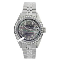 Rolex Ladies Stainless Steel, Diam Dial & Diam/Sapphire Bezel, Sapphire Crystal - REF-434X6Y