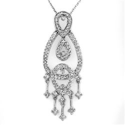1.0 CTW Certified VS/SI Diamond Necklace 14K White Gold - REF-86N9Y - 10179