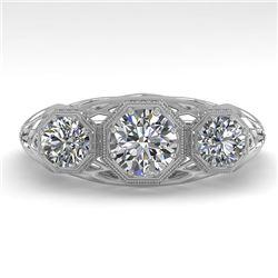 1.00 CTW Past Present Future VS/SI Diamond Ring 18K White Gold - REF-162F9N - 36057
