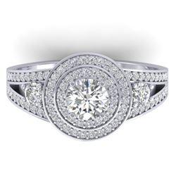 1.50 CTW Certified VS/SI Diamond Art Deco 3 Stone Halo Ring 14K White Gold - REF-170W8F - 30372