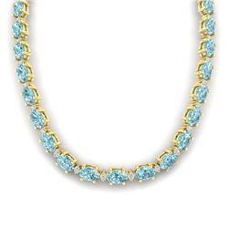 61.85 CTW Sky Blue Topaz & VS/SI Certified Diamond Necklace 10K Yellow Gold - REF-264N9Y - 29524