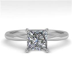 1 CTW Princess Cut VS/SI Diamond Engagement Designer Ring 18K White Gold - REF-282M2H - 32415