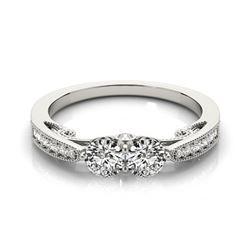 1.25 CTW Certified VS/SI Diamond 2 Stone Ring 18K White Gold - REF-194W4F - 28236
