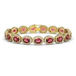 21.71 CTW Tourmaline & Diamond Halo Bracelet 10K Yellow Gold - REF-338X9T - 40621