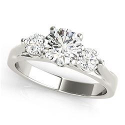 1.5 CTW Certified VS/SI Diamond 3 Stone Ring 18K White Gold - REF-417X5T - 28002