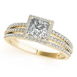 1.2 CTW Certified VS/SI Princess Diamond Solitaire Halo Ring 18K Yellow Gold - REF-241F5N - 27182