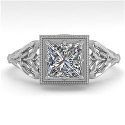 1.0 CTW VS/SI Princess Diamond Solitaire Engagement Ring Deco 18K White Gold - REF-344W4F - 36042