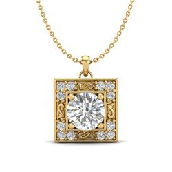 1.02 CTW VS/SI Diamond Solitaire Art Deco Necklace 18K Yellow Gold - REF-200M2H - 37273