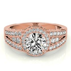 1.5 CTW Certified VS/SI Diamond Solitaire Halo Ring 18K Rose Gold - REF-398M9H - 26794