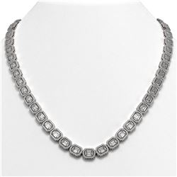 38.05 CTW Emerald Cut Diamond Designer Necklace 18K White Gold - REF-8080N2Y - 42749