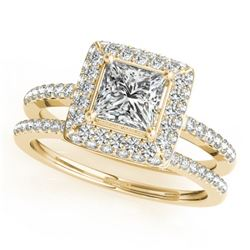 1.21 CTW Certified VS/SI Princess Diamond 2Pc Set Solitaire Halo 14K Yellow Gold - REF-227K3W - 3135