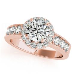1.6 CTW Certified VS/SI Diamond Solitaire Halo Ring 18K Rose Gold - REF-250X9T - 27061