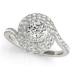 1.54 CTW Certified VS/SI Diamond Solitaire Halo Ring 18K White Gold - REF-228T5M - 27048