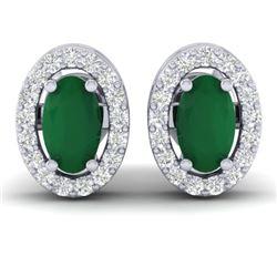 1.02 CTW Emerald & Micro Pave VS/SI Diamond Earrings Halo 18K White Gold - REF-34M5H - 21185