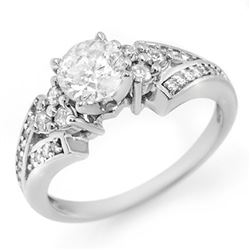 1.42 CTW Certified VS/SI Diamond Ring 18K White Gold - REF-287W5F - 11561