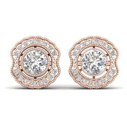 1.5 CTW Certified VS/SI Diamond Art Deco Stud Earrings 14K Rose Gold - REF-196K2W - 30541