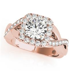 1.4 CTW Certified VS/SI Diamond Solitaire Halo Ring 18K Rose Gold - REF-235A3X - 26189