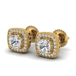 1.25 CTW Cushion Cut VS/SI Diamond Art Deco Stud Earrings 18K Yellow Gold - REF-218K2W - 37036