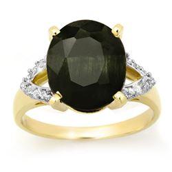 6.58 CTW Blue Sapphire & Diamond Ring 10K Yellow Gold - REF-67X6T - 12719