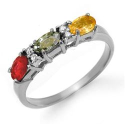 1.10 CTW Multi-Sapphire & Diamond Ring 18K White Gold - REF-35K6W - 13660